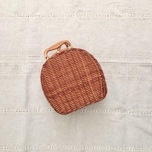 Vintage Round Rattan Wicker Birkin Purse